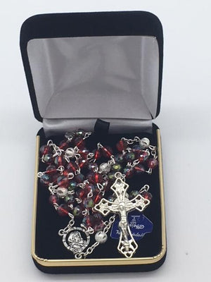 "Red Real Crystal Rosary  18"" - Unique Catholic Gifts"