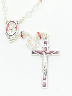 Red Czech Crystal Rosary 5 mm - Unique Catholic Gifts