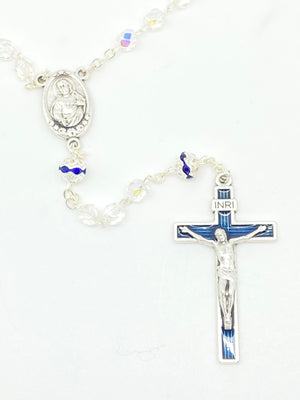 Blue Czech Crystal Rosary 5 mm - Unique Catholic Gifts