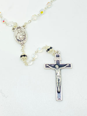 Black Czech Crystal Rosary 5 mm - Unique Catholic Gifts