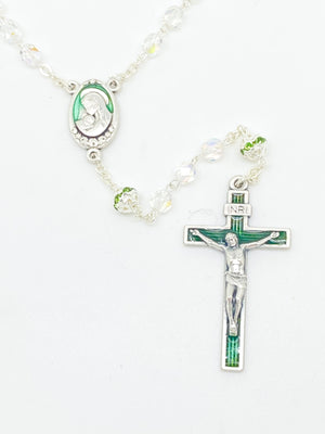 Green Czech Crystal Rosary 5 mm - Unique Catholic Gifts