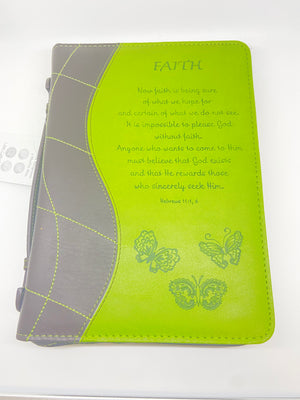 Faith Leatherette  Scriptural Bible Cover (Medium) - Unique Catholic Gifts
