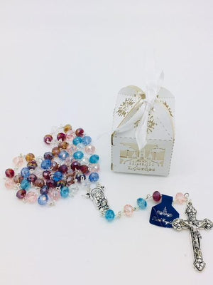 Our Lady of Lourdes Handmade Unique greatly detailed Box and Rosary.