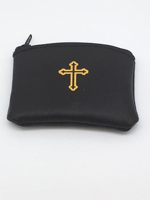 "Black Genuine Leather with Cross Rosary Pouch (3 x 21/2"") - Unique Catholic Gifts"