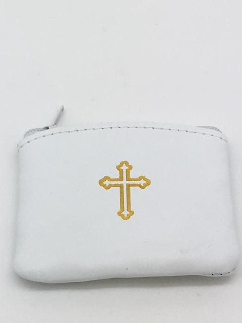 "White Genuine Leather with Cross Rosary Pouch (3 x 21/2"") - Unique Catholic Gifts"