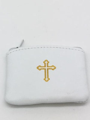 White Genuine Leather with Cross Rosary Pouch Large (4 x 3