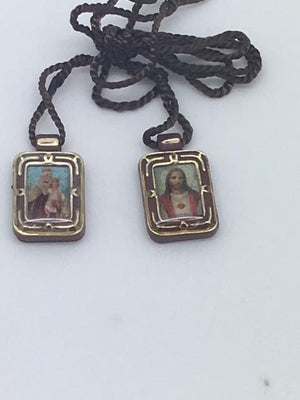 Brown Scapular Plastic Sacred Heart (small) - Unique Catholic Gifts