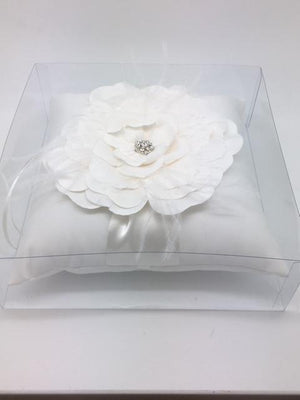 "Ring Pillow with Beautiful White Flower Center (Ivory) 7""x 7"" - Unique Catholic Gifts"
