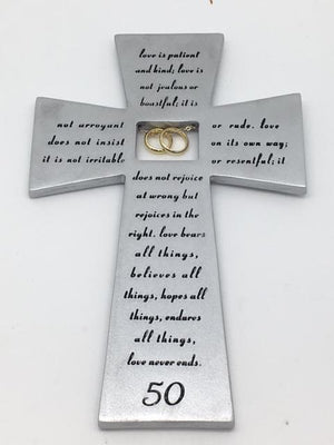 "50th Anniversary Wall Cross with Gold Rings (7"") - Unique Catholic Gifts"