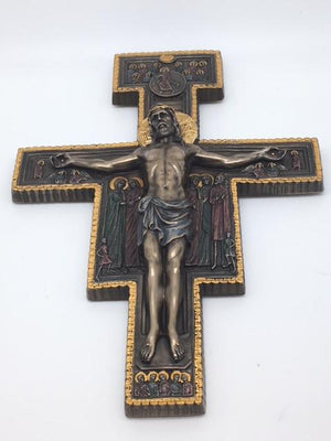 San Damiano Bronze Crucifix Wall Plaque (10