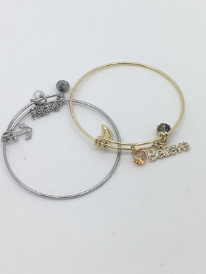 Inspirational Charm Bangle Bracelets (Gold or Silver)