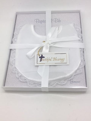 Baptismal Bib with Embossed Imprint and Lace (white)