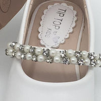 Leatherette Flats with a Rhinestone and Pearl Strap. Size 5 - Unique Catholic Gifts
