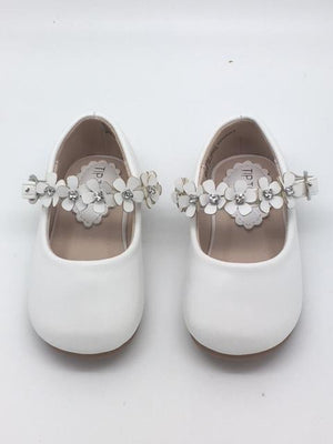 Beautiful Leatherette Shoes with Flowers Across the Strap Size 3