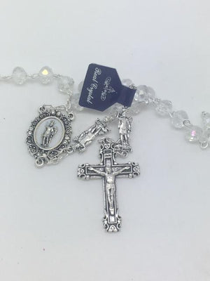Real Crystal St. Michael Rosary (7MM) - Unique Catholic Gifts