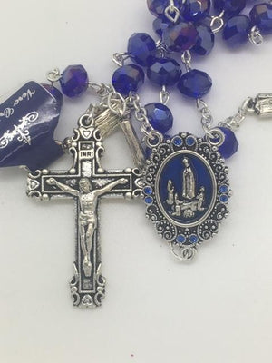 Real Blue Crystal Our Lady of Fatima Rosary (7MM) - Unique Catholic Gifts