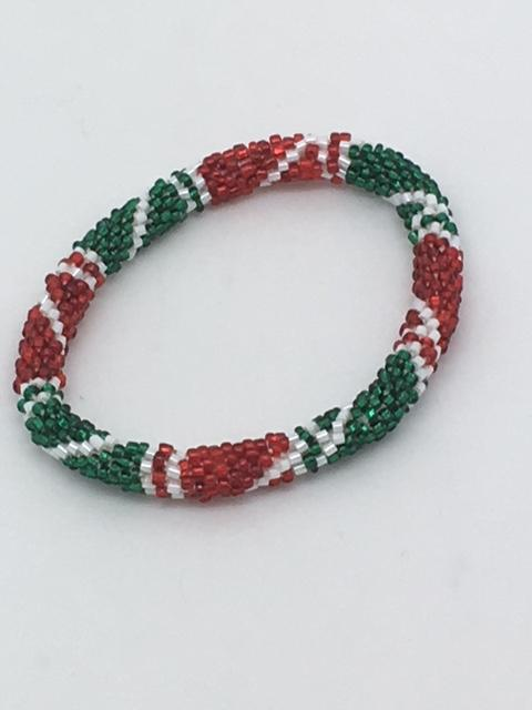 Nepal Christmas Bracelet (Green, Red, White Style 2) - Unique Catholic Gifts