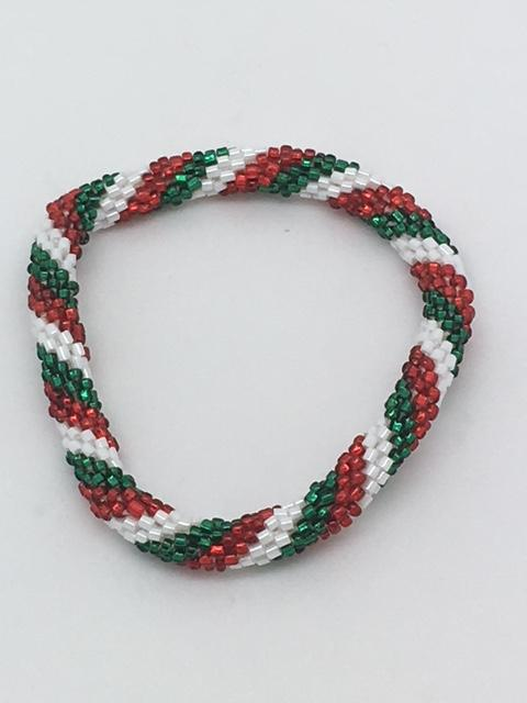 Nepal Christmas Bracelet (Green, Red, White Style 1) - Unique Catholic Gifts