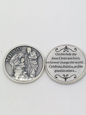 Christmas Nativity Pocket Token Coin - Unique Catholic Gifts