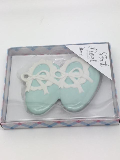"Baby's First Christmas Ornament Blue Baby Shoes (4"") - Unique Catholic Gifts"