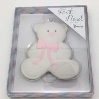 "Baby's First Christmas Ornament Pink Teddy Bear  (4"") - Unique Catholic Gifts"