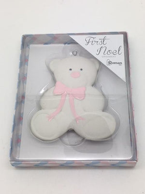 Baby's First Christmas Ornament Pink Teddy Bear  (4
