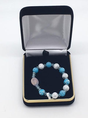 Children's Rosary Bracelet Blue with Flower Accents