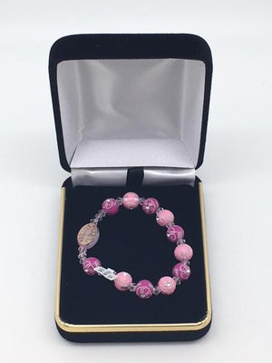 Children's Rosary Bracelet Pink with Flower Accents
