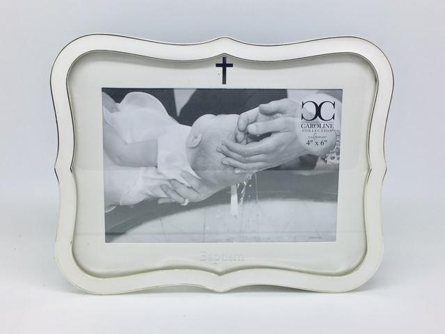 "White Baptism Frame 8"" (holds 4 x 6"") - Unique Catholic Gifts"