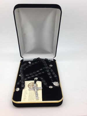 Saint Benedict Black Cord Rosary (10mm ) - Unique Catholic Gifts