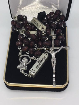 The Mysteries of  the Rosary Brown Wood Beads - Unique Catholic Gifts