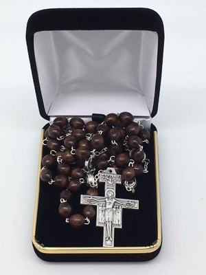 St. Francis Rosary Brown Wood Beads San Damiano Crucifix. - Unique Catholic Gifts