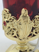 "Electric Votive Candle Stand Infant Prague and Our Lady Accents (4"")"
