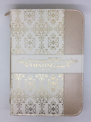 """ Amazing"" Bible Cover, Cream and Gold, Ephesians 2:10 (Large)"