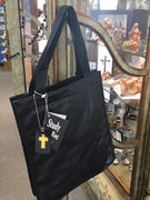 "Bible Study Tote Bag Black Imitation Leather (12"" x 4"" x 11"")"