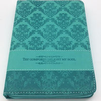 """Delightful"" Zippered Journal with Scripture Passage Pages Teal-Green (Psalms 94:19)"