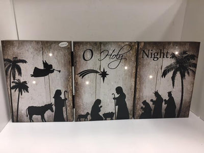 Tri-Fold  Lighted Nativity Panel Decoration