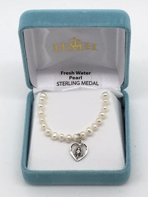 Child's Pearl Necklace with Sterling Silver Heart Shaped Miraculous Medal  (4mm) 14
