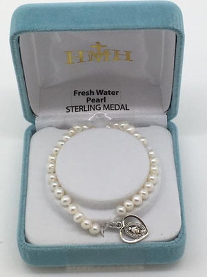 Child's Pearl Bracelet with Sterling Silver Heart shaped Miraculous Medal (4mm)