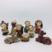 "Babies Nativity 9 Piece Unique Hand Painted Color (4"") - Unique Catholic Gifts"