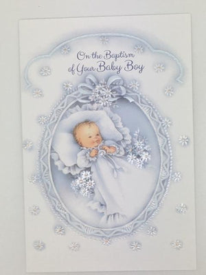 Copy of Your Baby Boy Baptism Greeting Card
