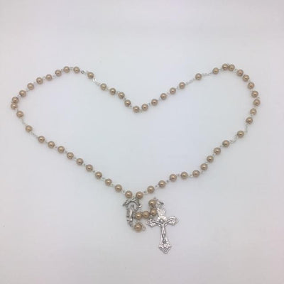 Our Lady of Grace Pearlized Gold Bead Rosary (6MM) - Unique Catholic Gifts