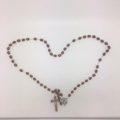 Natural Wood Cut Beads Sacred Heart Rosary (6MM) - Unique Catholic Gifts