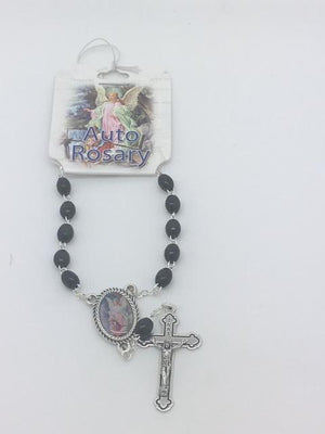 Guardian Angel Auto Rosary (Black Beads)