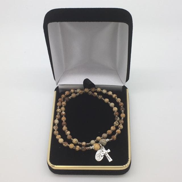 Genuine Jasper Twist Rosary Bracelet (4mm) - Unique Catholic Gifts