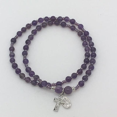 Genuine Amethyst Twist Rosary Bracelet (4mm) - Unique Catholic Gifts