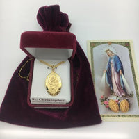 "Gold over Sterling Silver St. Christopher Medal (1 x 5/8"") on 20"" gold plated chain - Unique Catholic Gifts"