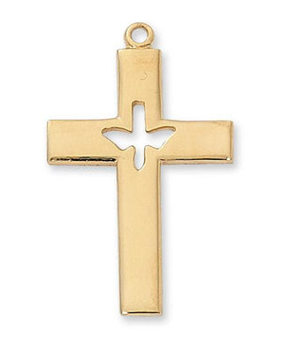 Gold over Sterling Silver Cross with Holy Spirit Cutout (1 5/16