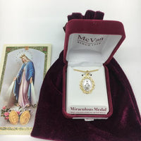 "Gold Over Sterling Silver Miraculous Medal ,Two Toned (3/4"")  18 Chain. - Unique Catholic Gifts"