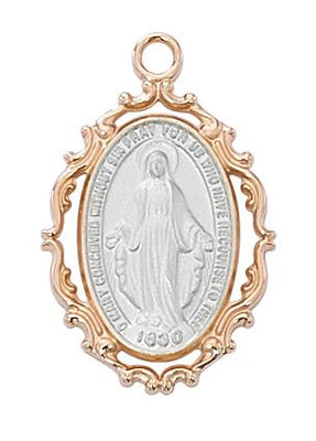 Rose Gold Border with Silver Sterling Our Lady of Grace (1